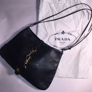 auth PRADA doe skin leather EVENING BAG purse$1450
